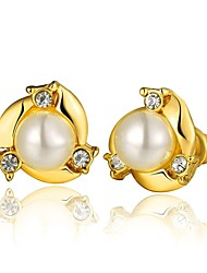 Fashion Pearl Golden Gold-Plated Stud Earrings (Golden)(1Pair)