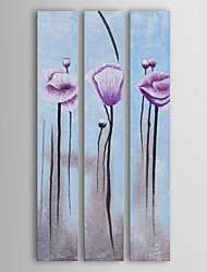 Oil Painting Modern Floral Lavender Poppies in Whit Set of 3 Hand Painted Canvas with Stretched Frame