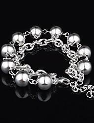 Woman's Fashion Silver Plated Bead Bracelet