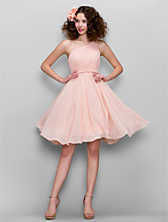 Honeymoon / Cocktail Party / Formal Evening / Sweet 16 Dress A-line One Shoulder Knee-length Chiffon with Side Draping