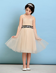 Knee-length Tulle Junior Bridesmaid Dress - Champagne A-line / Princess Spaghetti Straps