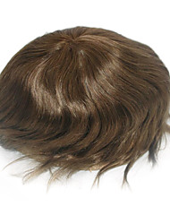 6 Inch Medium brown Hair System for Men Hairpiece Hair Replacement, Size Adjustable, Bleached Knots Front