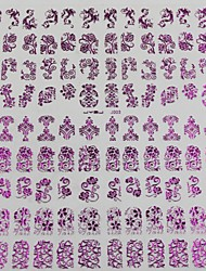 108pcs padrão misto de flores roxo da arte do prego etiquetas