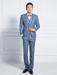 Blue Tattersall Slim Fit Suit In Polyester Three-Piece