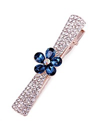 YL Jewelry Woman's  Fashion Blue leafy Crystal Hairpin
