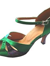 Latin Custimizable Women's Sandal Satin with Sparkling Glitter Dance Shoes