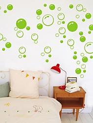 stickers muraux autocollants de mur, mignon PVC coloré amovibles les beauté verte mur de bulle autocollants.