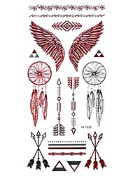 1Pcs  Metal  Red And Silver  Series Wing  Pattern  Tattoo Sticker