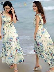 v-collo del modello di farfalla disegno chiffon vestito dalla spiaggia sottile maxi di mishow®women