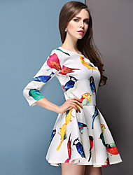 peng la femme le cou rond style occidental robe imprimé floral