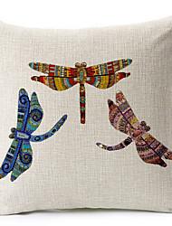 três libélula algodão / linho impresso capa de travesseiro decorativo