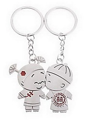 Alloy Silver Plated Boy and Girl Keychain Key Ring for Lover Valentine's Day(One Pair)