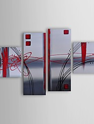 Oil Painting Modern Abstract Frosted Glas Set of 4 Hand Painted Canvas with Stretched Frame