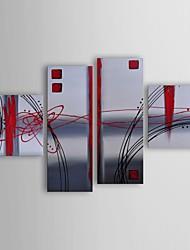 Pintura a óleo moderna glas fosco abstratos conjunto de 4 telas pintadas a mão, com quadro esticado