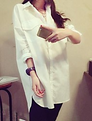 Women's Solid White Blouse/Shirt , Casual Shirt Collar ¾ Sleeve