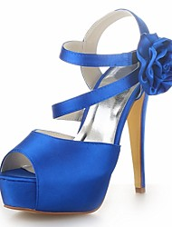 Women's Shoes Platform Stiletto Heel Satin Sandals with Satin Flower Wedding Shoes More Colors available