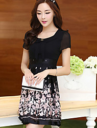 Woman's Floral Print Chiffon Dress