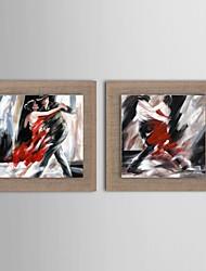 aceite pintura moderna personas abstractas conjunto de 2 pintado a mano de lino natural con el marco de estirado