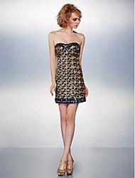 Vestido Corte Recto Corto - Strapless Con lentejuelas