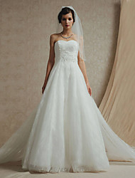A-line Wedding Dress Cathedral Train Bateau