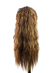 18 Inch Wave Brown Clip In Ribbon Ponytail Heat Resistant Fiber Synthetic