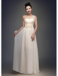 Floor-length Chiffon Bridesmaid Dress - Champagne A-line One Shoulder
