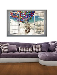Adhesivos de pared pegatinas de pared 3d, vela volar pegatinas decoración de vinilo