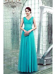 Formal Evening Dress Sheath / Column V-neck Floor-length Chiffon with Beading / Side Draping