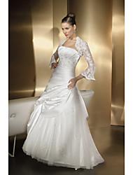 A-line Wedding Dress Floor-length Sweetheart Satin Chiffon