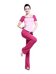 Women's Yoga Suits Short Sleeve Pink / Black / Purple Yoga S / M / L / XL / XXL