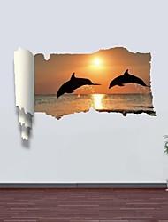 3d Stickers muraux stickers muraux, dauphin décoration vinyle stickers muraux
