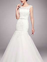 Trumpet/Mermaid Sweep/Brush Train Wedding Dress -Jewel Lace