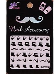 1PCS Cartoon Mustache Style Nail Art Stickers MZ Series MZ-W11