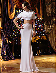 LAN TING BRIDE Trumpet / Mermaid Wedding Dress Two-Piece Sweep / Brush Train Jewel Knit with Appliques Beading