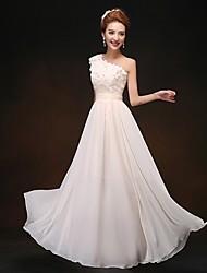 Formal Evening / Wedding Party Dress - Champagne Sheath/Column One Shoulder Floor-length Chiffon