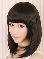 Women's Fashionable Short Black Brown Straight Bob Wigs For Cosplay with Full Bang