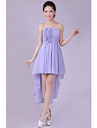 Short/Mini Bridesmaid Dress - Champagne A-line / Princess Bateau
