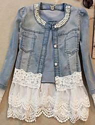 Women's Blue Lace/Denim Jacket , Vintage/Lace/Plus Sizes Long Sleeve