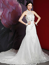 Trumpet/Mermaid Wedding Dress - White Cathedral Train High Neck Lace