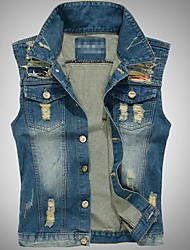 Men's Casual Pure Sleeveless Regular Vests (Denim)