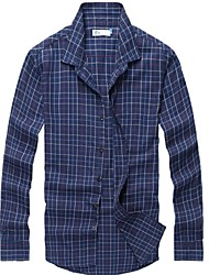 100% de algodão casuais xadrez de manga longa camisa de flanela dos homens