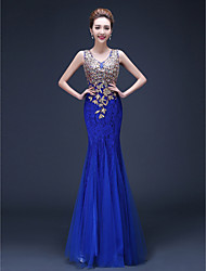 Mermaid / Trumpet Straps Floor Length Tulle Evening Dress with Beading