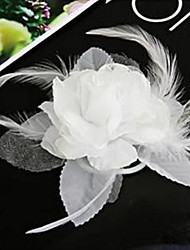 Gauze Rose-Shaped Head Jewellery With Feather White (1Pc)