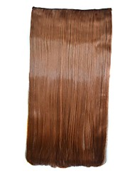 Straight Brown Clip Hairpieces Synthetic Extensions (Light Brown)