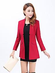 Women's Blue/Red/Black/Orange Coat , Casual Long Sleeve Wool