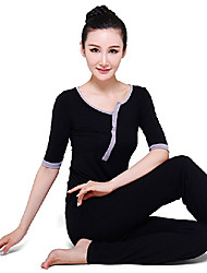 Mujer Yoga Trajes Medias mangas Negro Yoga M / L / XL