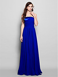 Sheath / Column Strapless Floor Length Chiffon Bridesmaid Dress with Side Draping Ruching by LAN TING BRIDE®