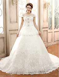 Ball Gown Jewel Lace Chapel Train Wedding Dress