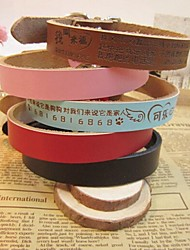 Cow Leather Carved Lettering (Price excluding) Collar for Dogs and Pets (assorted colors,size)