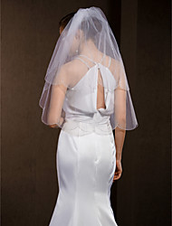 Wedding Veils Women's Elegant Tulle Two-tier Beaded Edge Veils